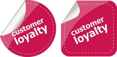 customer loyalty stickers set on white, icon button