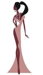 Силуэт девушки в вечернем платье