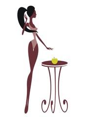 Силуэт девушки с яблоком