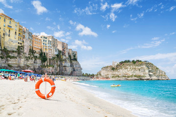 Tropea beach with old town, Calabria, Italy
