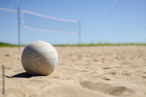 Volleyball and court in background - 66926497