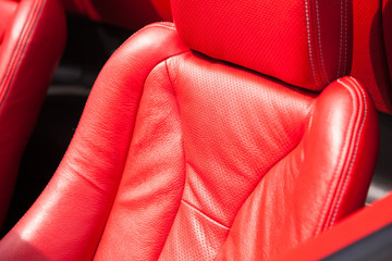 Leather upholstery of a car seat
