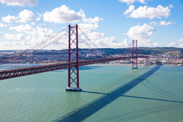 Lisbon Bridge with cityscape