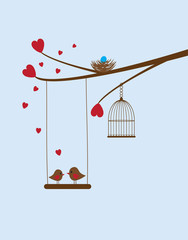 vector birds nest, red hearts, cage