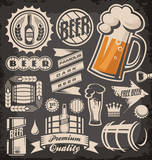 Set  of beer emblems, symbols and logos