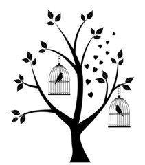 vector tree with bird cages, hearts