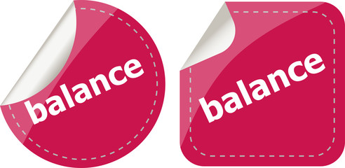 balance word on stickers button set, label, business concept