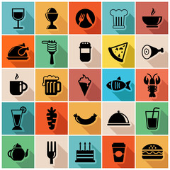 Vector set of food icons in modern flat design