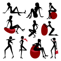 Set of Fashion model silhouettes. Vector