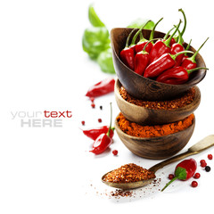 chili peppers with herbs and spices