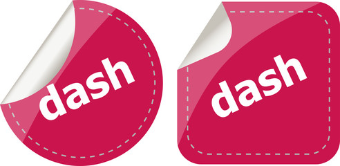 dash word stickers web button set, label, icon