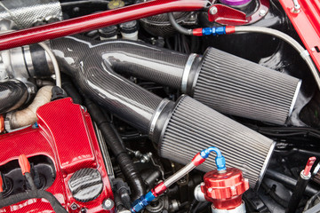Supercharged car engine