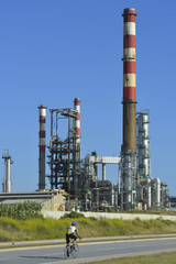 Oil refinery, Europe. Polluting energy