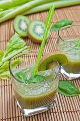 Green smoothie with kiwi, cucumber, celery