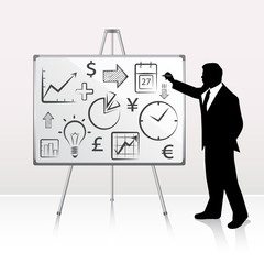 Businessman pointing whiteboard for presentation. Vector
