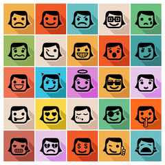 Smiley faces icon set. Vector