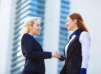 Businesswomen shaking hands, background corporate office