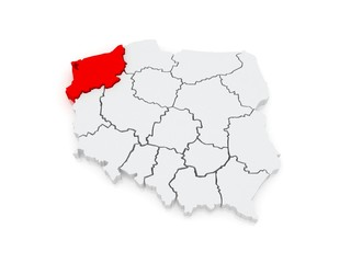 Map of Western Pomeranian. Poland.
