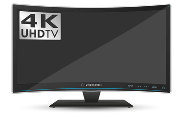 Curved 4K UHD Ultra High Definition TV on White Background