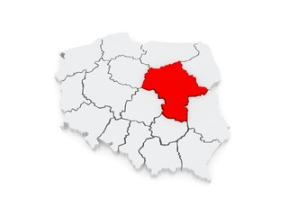 Map of Mazovia. Poland.