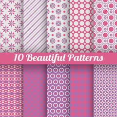 10 Beautiful vector seamless patterns (tiling). Pink, purple