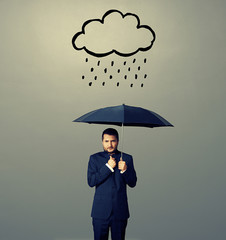 displeased businessman with umbrella