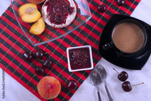breakfast with fruit close up