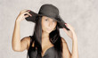 Old photo  stylization young women in hat