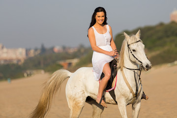 gorgeous young woman morning horse ride
