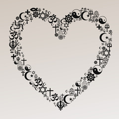 Religions Heart Shape