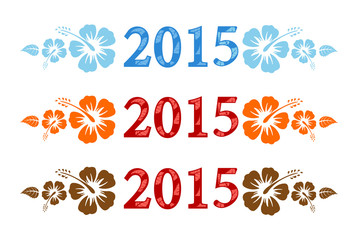 Vector colorful aloha 2015 text with hibiscus