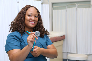 African American Nurse portrait with copy space