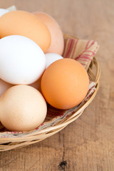 farm eggs in a basket on wooden table