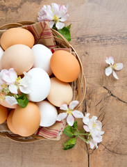 beautiful farm eggs and apple blossoms on wooden surface