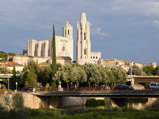 Girona, Spain. View of the city and the Cathedral of Saint Mary.