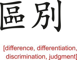 Chinese Sign for difference,  discrimination, judgment