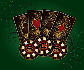 Casino background with poker elements, vector