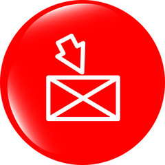 mail envelope icon web button with map isolated on white
