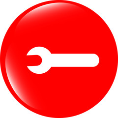 adjustable wrench icon web button isolated on white