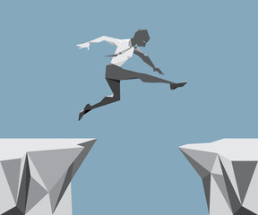 The Business Man Jump across the chasm.