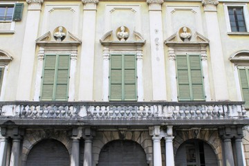 architectural detail of the historic villa in Italy