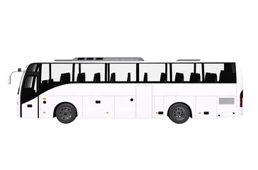 White Bus Side View Isolated