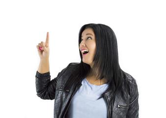 pointing finger in white