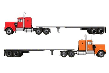 Flat Trailer Trucks Isolated