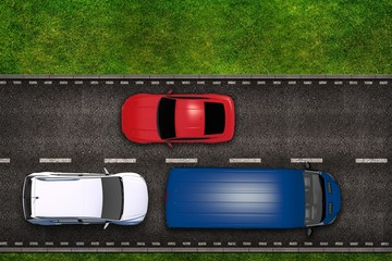 Highway with Cars Illustration
