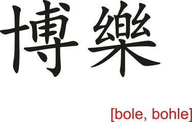 Chinese Sign for bole, bohle