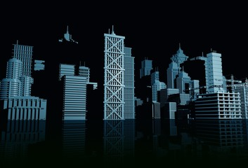 Dark Blue Skyline 3D