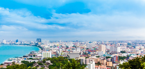 Beautiful gulf and city landscape of Pattaya, Thailand