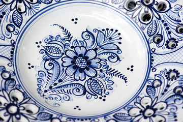 detail of decorative blue ceramic from Modra, Slovakia
