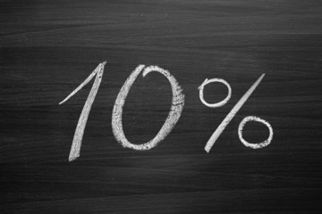10-percent header written with a chalk on the blackboard